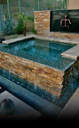 custom pool and custom gunite spa hot tub